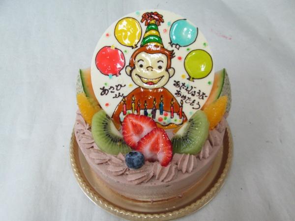 バースデーケーキに、おさるのジョージをプレートで