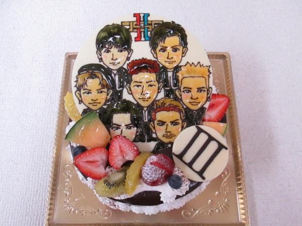 バースデーケーキに 三代目jsbメンバーとロゴマークをイラストプレートをトッピング 大阪市東住吉区 パティスリーデコ